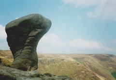 Peak District with Craig (brightondj - getting the most from a cheap compact) Tags: peakdistrictwithcraig peakdistrictnationalpark peakdistrict pentaxmesuper derbyshire 1990s scan scanned analog 35mm rock stone