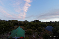 20170228-18-Camp (Roger T Wong) Tags: australia greatpinetier np nationalpark sel1635z sony1635 sonya7ii sonyalpha7ii sonyfe1635mmf4zaosscarlzeissvariotessart sonyilce7m2 tasmania wha wallsofjerusalem worldheritagearea bushwalk camp clouds evening hike sky tent trektramp walk