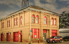 Lockhart Fire Department (Jims_photos) Tags: lockhartfiredepartment texas outdoor outside oldmemories adobelightroom adobephotoshop shadows sunnyday daytime downtown jimallen jimsphotos jimsphotoswimberleytexas lightroom lockharttexas cloudy clouds vintage nopeople memories