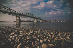On the beach (Vagelis Pikoulas) Tags: hungary travel beach rock rocks bridge slovakia europe canon 6d tokina 1628mm november autumn 2016 sky blue film clouds cloud cloudy view landscape river danube