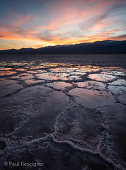 Bad Water Basin, After the Rains, Sunset, Death Valley, California, USA (Paul Rescigno) Tags: deathvalley death valley inyocounty inyo california desert badwaterbasin bad water basin salt sunset saltbasin saltflats flats reflections