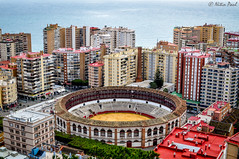 The bullfight arena (Nitin_Paul) Tags: travel wanderlust bullfight arena spain malaga nitin nitinpaulphotography buildings cityscape city history view points birdseyeview mountains hills nikon nikond90 citylife cityview cityviews views