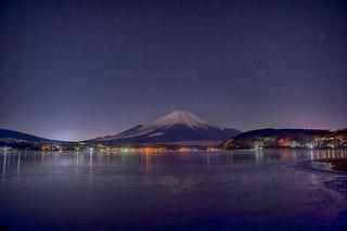 Lake Yamanaka town light reflection