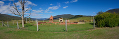 Gregory's Ruins (RobMacPhotography) Tags: architecture gregorys ruins ororral valley mountains ruin foundations chimney stack fence red brick rustic blue skies green grass sony a6000 rob mac canberra act australia tree dead old panorama landscape
