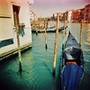 Gondola - lomo (sonofwalrus) Tags: holga film lomo lomography scan venice italy europe venezia italia xpro xprocessing canal water boats gondola