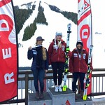 Kristina Natalenko 1st; Rebecca Gunnarstedt 2nd; Mikayla Martin 3rd at Red Mountain BC Cup FIS GS