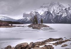 Island in Lake Minnewanka (John Payzant) Tags: hdr pamorama alberta canada lake ice park minnewanka banff island