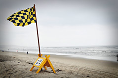 Billowing Flag (iamamylou) Tags: flag yellowandblack checkered sign ocean beach waves sand yellow color wind blowing pacificbeach outdoors outside