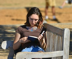 Book Worm (swong95765) Tags: book girl woman lady reading park bench tattoo
