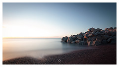 Making Land Fall (picturedevon.co.uk) Tags: hollicombe beach torbay englishriviera england uk le sunrise seascape water minimal rock seaside coast colour blue stone sky longexposure horizon tide shadow canon outdoors photography