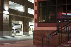 Boise (Curtis Gregory Perry) Tags: boise idaho night longexposure building window reflection neon light parking garage brick sidewalk alley street road nikon d810 stairs steps