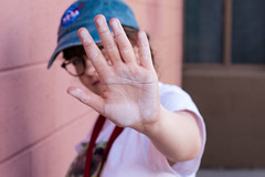 (Taran W) Tags: pink wall blue hat glasses chalk hand outdoor people portrait light shadows