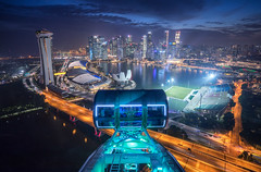 Night Dream (bing dun (nitewalk)) Tags: singapore flyer night cityscape cbd marinabay mbs