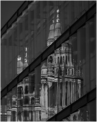 From the Dissolution of the Monasteries to The Liquefaction of St Paul's. (markrd5) Tags: london flickrmeetup stpauls cityscape reflection liquefaction modernism wren monochrome nikon18300