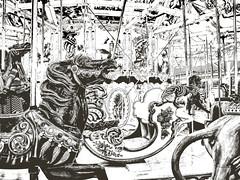 Trimper's Carousel at the boardwalk (delmarvausa) Tags: rides boardwalk oceancitymaryland lights afterdark nighttime boardwalkstroll oceancitymd ocmd oceancityboardwalk amusements summer oceancity famousboardwalk summertime night atnight resorttown beachtown eastcoast midatlantic maryland beaches carousel blackandwhite linedrawing artistic trimpers carouselhorse antiquecarousel