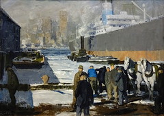Men of the Docks. Oil on canvas, by George Bellows, 1912 (Snapshooter46) Tags: nationalgallery london painting artist newyork menofthedocks oiloncanvas georgebellows ship tugboat horses barges