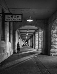 Central 8 mono [Explore: April 23, 2017 #362] (Mariasme) Tags: monochrome people eddyave sydney earlymorning sign shadows diagonals lights vanishingpoint