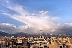 Decaying storm over Tehran (Chris Brady 737) Tags: therebeastormabrewin tower milad iran tehran alborz cb cumulonimbus storm