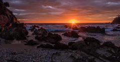 Up she comes! (OzzRod) Tags: pentax k1 smcpentaxda1017mmf3545fisheye dawn sunrise seascape coast beach sea ocean rocks sunburst millbeach cuttagee