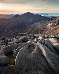 Hills of the Sleeping Warrior (Greg Whitton Photography) Tags: arran isle landscape mountains scotland sony a7rii caistealabhail cìrmhòr goatfell sunset rock epic beautiful colour light