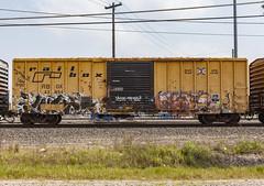 (o texano) Tags: houston texas graffiti trains freights bench benching wyse crae a2m adikts