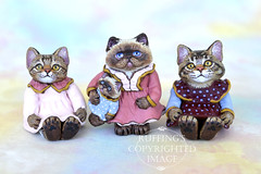 Lovey, Hilary and Heather, and Jody by Max Bailey (ruffingsartdolls) Tags: original sculpture cats cat miniatures miniature handmade originalart oneofakind ooak painted handpainted collectible collectables collectable sculpted handmadedoll catart handsculpted catdoll paperclay maxbailey handscupted catartdoll ruffings