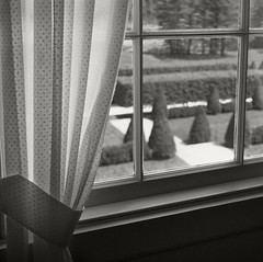 Curtain (frntprchprss) Tags: blackandwhite window garden massachusetts curtain berkshires lenox hedges themount jamesgehrt