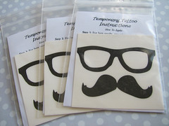 Moustache and Glasses Temporary Tattoos (Ali Puckett, Buttonhead) Tags: glasses tattoos moustache mustache temporary temporarytattoos faketattoos
