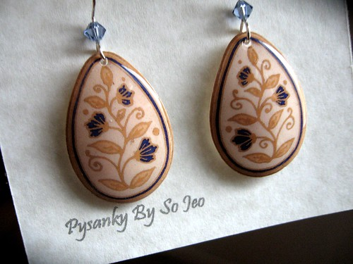 Eco Spring Vines Pysanky Eggshell Earrings