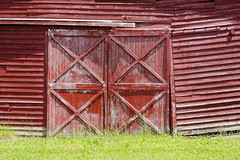 Bent (fotofish64) Tags: barn doors red pattern woodshingles angles esperance newyork 20d rural farm dwwg canon canondpp capitalregion outdoor texture door
