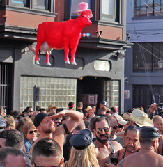 holy red cow -- dancing in the streets!!! (mendolus shank) Tags: street city red people true hat sunglasses cow san francisco dancing you folsom fair we holy sin rise damaged powerful shall 2012