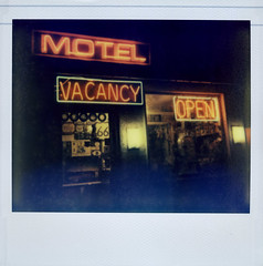 Route 66 Motel (Nick Leonard) Tags: california old classic film night vintage polaroid office route66 neon open nick roadtrip scan retro nighttime polaroidspectra spectra vacancy timeless neonsigns polaroidcamera instantfilm epson4490 historicroute66 route66motel colorshade polaroidspectrasystem integralfilm nickleonard type1200 theimpossibleproject impossibleprojectfilm pz680 believeinfilm