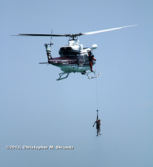CFD Helo_03 (Chris Skrundz) Tags: show sea rescue lake chicago beach water airplane fire boat illinois ship bell michigan air north august huey helicopter avenue department hover uh1
