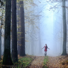 Oncoming (PeterGrayPhoto) Tags: morning trees red portrait white mist tree nature girl fog mystery forest fear lone lonely