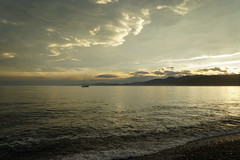 off the beach (go wild - NZ outside) Tags: new light sunset cloud reflection weather golden evening bay south over dramatic zealand kaikoura seacoast 2013