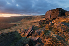 Grindslow Knoll (Paul Newcombe) Tags: uk november autumn sunset england mountain countryside nationalpark peakdistrict hill british peaks darkpeak edale gritstone highpeak kinderscout sidelight 2013 canoneosm paulnewcombephotography canonefm1122mm vision:clouds=0711 vision:outdoor=092 vision:sky=0898 gindslowknoll