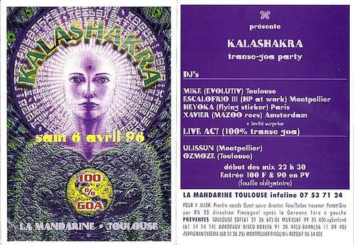 """Patrice Heyoka - Flyer 06/04/1996 - """"Kalashakra"""" @ La Mandarine (Toulouse) <a style=""""margin-left:10px; font-size:0.8em;"""" href=""""http://www.flickr.com/photos/110110699@N03/11337199066/"""" target=""""_blank"""">@flickr</a>"""