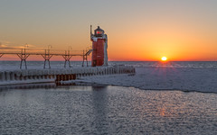 South Haven Michigan (Luke Strothman Photography) Tags: winter sunset lighthouse lake snow cold landscape frost sundown michigan freezing canon5d southhaven markiii 2470 2013 lukestrothman