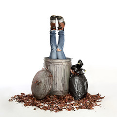 Out with the Old... (YetAnotherLisa) Tags: portrait trash self photography garbage lisa cleaning jeans ducttape bluejeans noble odc ducktape galvanizedmetal outwiththeold duckboots metaltrashcan lisanoblephotography