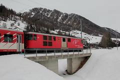 MGB Matterhorn Gotthard Bahn Gepcktriebwagen Deh 4/4 I Nr. 55 ( Triebwagen Baujahr 1972 ) mit Taufname Brig ( Ehemals Furka  Oberalp - Bahn FO ) unterwegs im Goms - Obergoms im Kanton Wallis - Valais in der Schweiz (chrchr_75) Tags: train schweiz switzerland suisse swiss eisenbahn zug christoph svizzera bahn treno schweizer wallis januar valais mgb 2014 suissa chrigu goms 1401 janaur bahnen obergoms chrchr kantonwallis hurni chrchr75 chriguhurni kantonvalais albumbahnenderschweiz chriguhurnibluemailch januar2014 hurni140113 albummgbmatterhorngotthardbahn