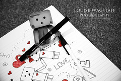 Look what I doned! (loulovesdanbo) Tags: red cute love pen hearts photography mono photo blackwhite heart sweet drawing valentine romance doodle doodling notepad selectivecolor danbo colorpop danbophotography