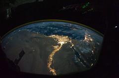 Cairo and Alexandria, Egypt at Night (NASA, International Space Station Science, 10:28:10)