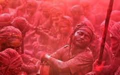 Blast of Colours-5 (Padmanabhan Rangarajan) Tags: holi nandgaon lathmar india festival colours hinduism temple celebrations