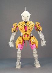 Freya - Front (0nuku) Tags: bionicle lego toa crystal quartz pink gold clear crast kanohi custom mask prosthetics amputee