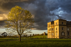 A spring sunset at Croome Court (cliveg004) Tags: croomecourt croome nt nationaltrust worcestershire sunset statelyhome light golden stone trees clouds showerclouds spring capabilitybrown nikon d5200 1685mm