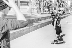 Skating in Barcelona, winter light (G.Comte) Tags: barcelona travel treatyourself spain espana espagne bacelone europe holidays winter sunlight noiretblanc blackwhite blackandwhite contrast street art
