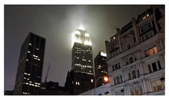 Empire State Building on misty January night (real00) Tags: urban landscape urbanlandscape newyork skyscraper empirestatebuilding fog mist night