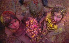 Festival of colors (Sourabh Gandhi) Tags: festival colors indian intriguing moment sabbyy sg sourabh gandhi india colours barsana nandgaon mathura up krishna radhe festive season kids playing flowers petals widow holi culture traditional tradition