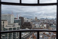 Westminster Cathedral (Spannarama) Tags: view westminstercathedral belltower westminsterabbey housesofparliament londoneye shard walkietalkie cheesegrater buildings rooftops skyline clouds london uk framed framewithinaframe bars aperture opening
