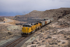 Out of the canyon (ajketh) Tags: up union pacific emd sd60m triclops threewindow 2272 moab ut utah grand junction co colorado intrepid potash freight local train railroad airport highway 191 canyon exit